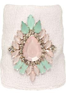 Bracelete Malha Com Cristais Verdes E Rosas Opal Banhado Em Ródio Branco By Cris Arcangeli La Madame Co - Kanui