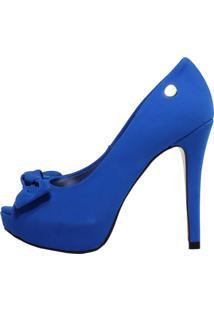 Peep Toe Meia Pata Week Shoes Com Laço Nobuck Azul
