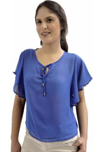 Blusa Bazz Morcego Chiffon Azul Royal