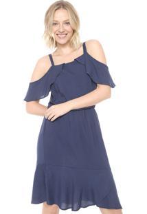 Vestido Ciganinha Mercatto Curto Liso Azul-Marinho
