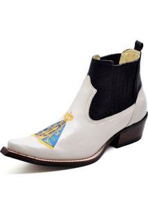 Botina Bota Country Bico Fino Top Franca Shoes Verniz Branco Preto