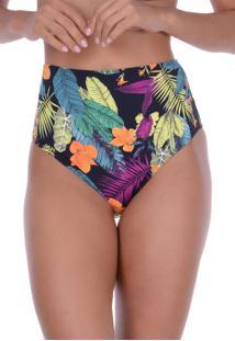 Calcinha Summer Soul Hot Pants Básica Selva Floral Preto