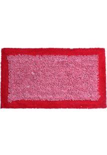 Tapete De Algodão Chenille 50Cm X 80Cm Vermelho