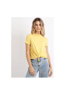 Blusa Feminina Básica Com Nó Manga Curta Decote Redondo Amarela