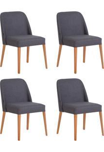 Conjunto De Cadeiras Rosini - 4 Peã§As - Base Trigo E Tecido Cinza