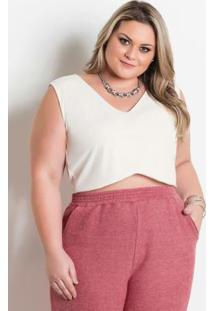 Cropped Off White Com Barra Ondulada Plus Size