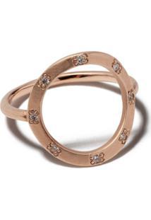Brooke Gregson Anel Em Ouro Rosé 14K Com Diamante - Rose Gold