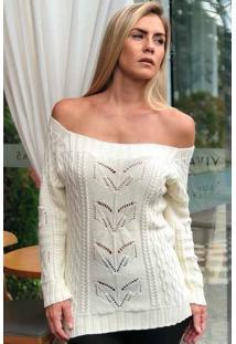 Blusa Tricot Ombro A Ombro Manga Longa Branca