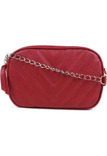 Bolsa Shoestock Crossbody Box Matelassê Feminina - Feminino-Vermelho