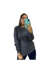 Blusa Feminina De Tricô Grosso Inverno Moda Gola Cinza