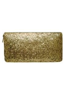 Carteira Real Arte De Glitter Dourada