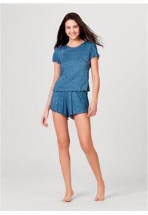 Pijama Hering Manga Curta Em Malha Canelada Feminino - Feminino-Azul