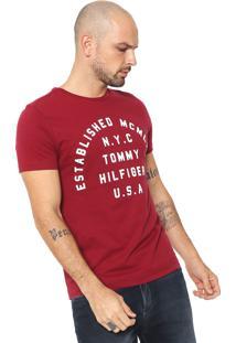 Camiseta Tommy Hilfiger Estampada Bordô