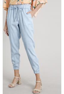 Calça Jeans Feminina Clochard Jogger Azul Claro