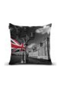 Capa Para Almofada Design Londres 004 - 43 X 43 Cm Preto, Branco, Cinza, Azul, Vermelho