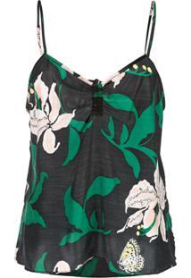 Morgan Lane Camisola Serena Com Estampa Floral - Preto