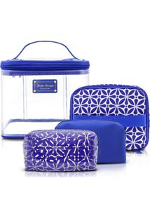 Kit Necessaire 4 Em 1 Geométrica Jacki Design Étnica Azul