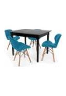 Conjunto Mesa De Jantar Robust 110X90 Preta Com 4 Cadeiras Eames Eiffel Slim - Turquesa