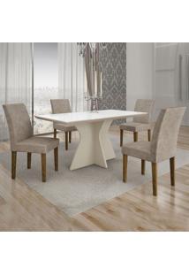 Conjunto De Mesa De Jantar Creta Com 4 Cadeiras Olímpia Suede Branco E Cinza