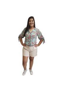 Camisa Linda D+ Floral Verde (6006)