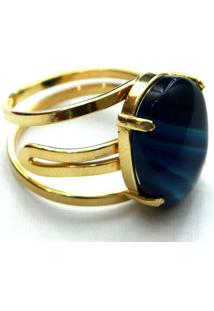 Anel Ajustável Pedra Ágata Azul Twik