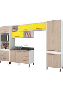 Cozinha Compacta Castanha Branco E Bege E Amarelo Móveis Albatroz