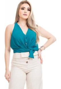 Blusa Clara Arruda Cintura Laço Feminina - Feminino-Verde Escuro