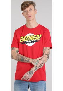 "Camiseta Masculina ""Bazinga!"" The Big Bang Theory Manga Curta Gola Careca Vermelha"