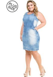 9f2ec5199 ... Vestido Jeans Regata Casual Com Recortes Plus Size