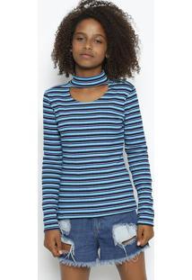 Blusa Canelada Com Recorte Vazado - Azul Claro & Azul Maenfim