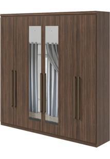 Guarda-Roupa Alonzo New Com Espelho - 100% Mdf - 6 Portas - Imbuia Naturale