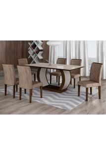 Conjunto De Mesa De Jantar Com 6 Cadeiras Maia I Suede Animalle Castor E Chocolate