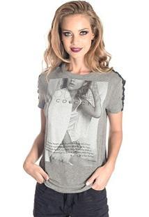 Camisetas Detalhe Renda Colcci - Feminino-Cinza