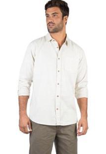 Camisa Listrada Manga Longa Taco Masculina - Masculino-Off White