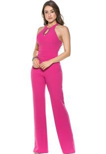 Macacão Celestine Pink Com Bordados