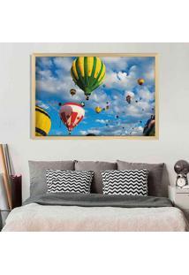 Quadro Love Decor Com Moldura Balloons In The Sky Madeira Clara Médio