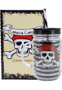 Caneca Pote Canudo Caveira Pirata Geek10 - Preto