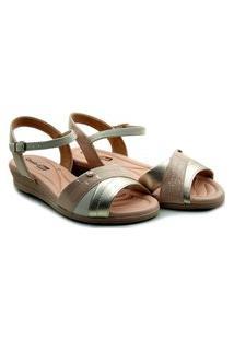 Sandalia Comfort Flex Anabela Metal Plus - 2070404