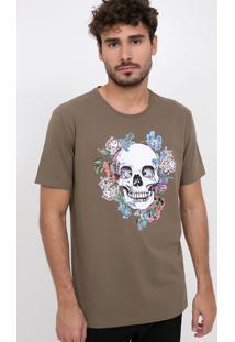 Camiseta Caveira Com Flores