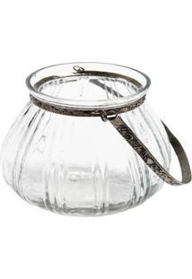 Cachepot- Pashmina- Vidro C/ Alca Em Metal- Transparente