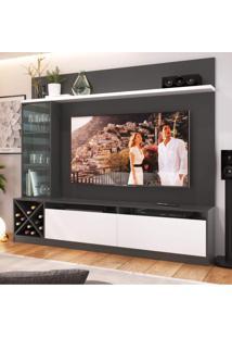 Estante Home Para Tv Até 50 Polegadas 1 Porta De Vidro Sorrento Quiditá Grafite/Branco