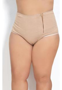 Calcinha Plus Size Chocolate Com Zíper Frontal