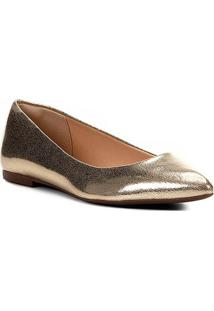 Sapatilha Shoestock Bico Fino Lisa Feminina - Feminino-Dourado