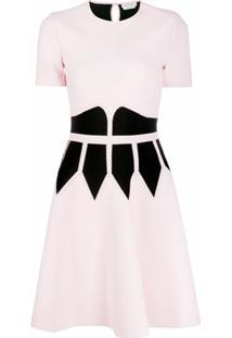 Alexander Mcqueen Vestido Evasê Color Block - Rosa