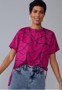 Blusa Amaro Acetinada Fenda Lateral Risco Pink - Rosa - Feminino - Dafiti