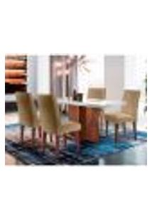 Conjunto De Mesa De Jantar Berlim Ii Com Tampo De Vidro Off White E 4 Cadeiras Grécia Linho Turim