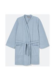 Robe Curto Em Veludo Com Mangas Longas Curve & Plus Size Azul