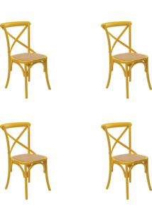 Kit 04 Cadeiras Katrina Amarela Rivatti