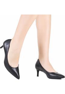 Sapato Scarpin Bico Fino Salto Baixo Preto