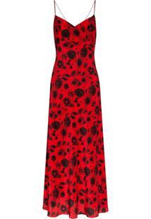 Les Rêveries Vestido Longo Com Estampa De Margaridas - Vermelho